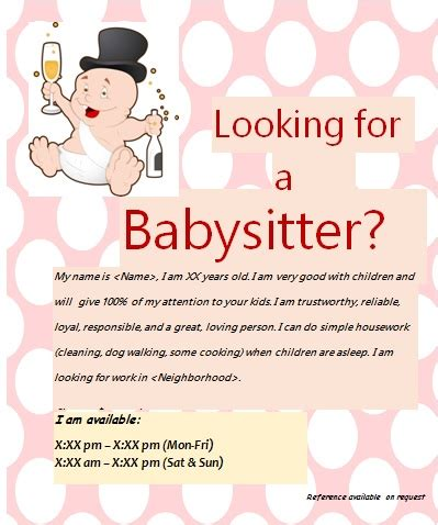 babysitting flyer template free free babysitting flyers unique ideas beautiful templates and sles demplates