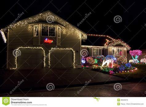 christmas lights houses near beautiful home house christmas lights lighting stock photo