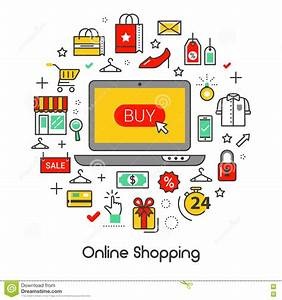 Set Online Shop : online shopping line art thin icons set with laptop and products stock vector illustration of ~ Orissabook.com Haus und Dekorationen