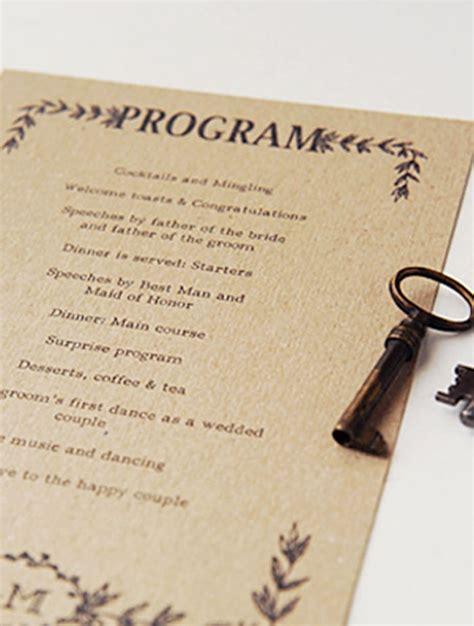hand illustrated rustic wedding program  printable