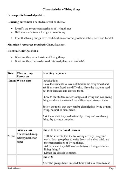 lesson plan  worksheets  characteristics  living lhings