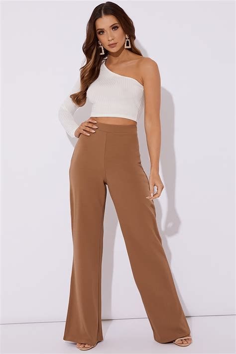 Frayed Wide Leg noomai camel wide leg trousers in the style