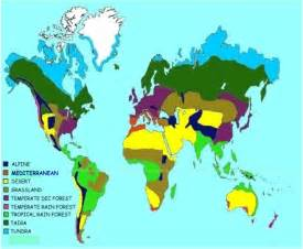 Map of the 8 Biomes of World with Key