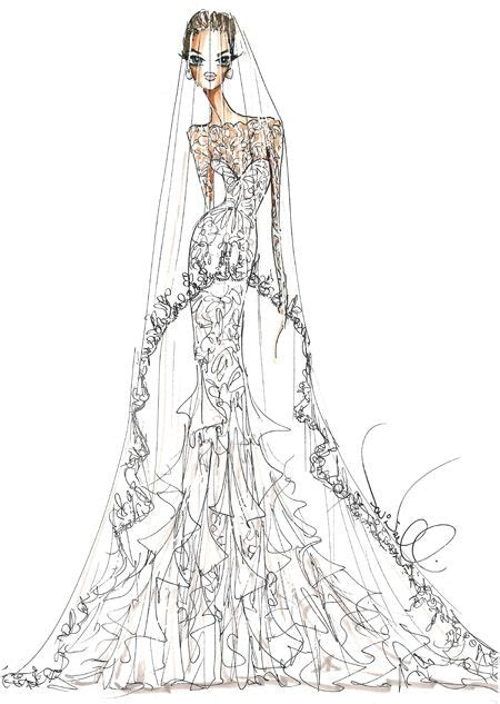 angelina jolies fantasy wedding gown sketch theia