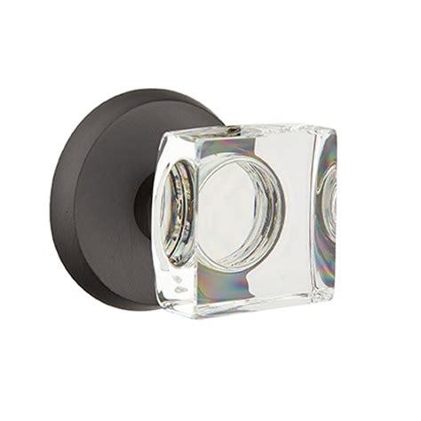 emtek bronze modern square crystal door knob set