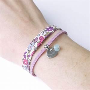 kit creatif bracelet liberty fleurs bleues kolamaya With robe fourreau combiné avec bracelet tissu liberty