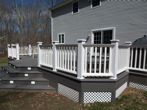 white and gray wood porch composite decks hot tub decks
