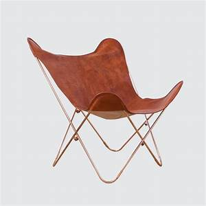 Butterfly Chair Original : leather butterfly chair cognac with copper base the citizenry ~ Frokenaadalensverden.com Haus und Dekorationen