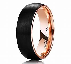 matte black tungsten carbide rose gold mens wedding band With mens matte gold wedding ring