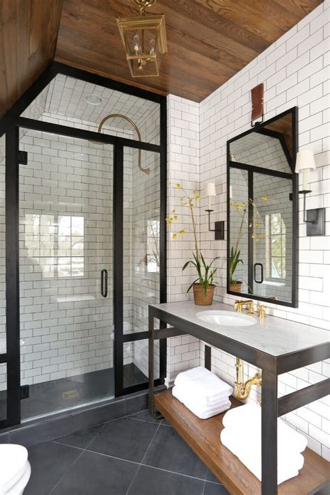 Terrific Black and White Bathroom Decor with Dark Trim