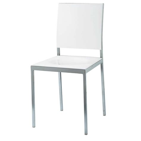 chaise en plastique chaise en plastique et métal blanche oslo maisons du monde