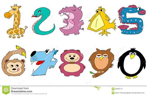friendly animal numbers stock vector illustration