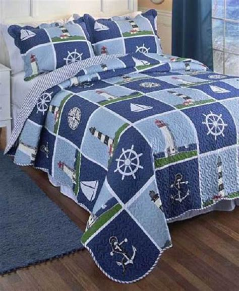 Boat House Quilt Set by Blue Nautical Beach Lighthouse King Size 3 Pc Quilt Set
