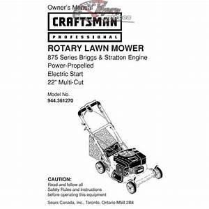 Craftsman Lawn Mower Parts Manual 944 361270
