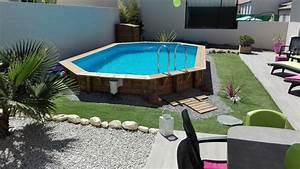 photo amenagement du jardin avec piscine bois semi With superb terrasse piscine semi enterree 1 les piscines en bois en photo