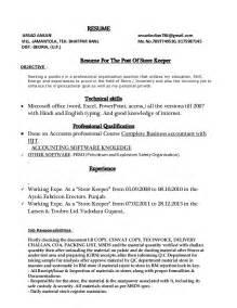 store incharge resume format sle resume of warehouse incharge