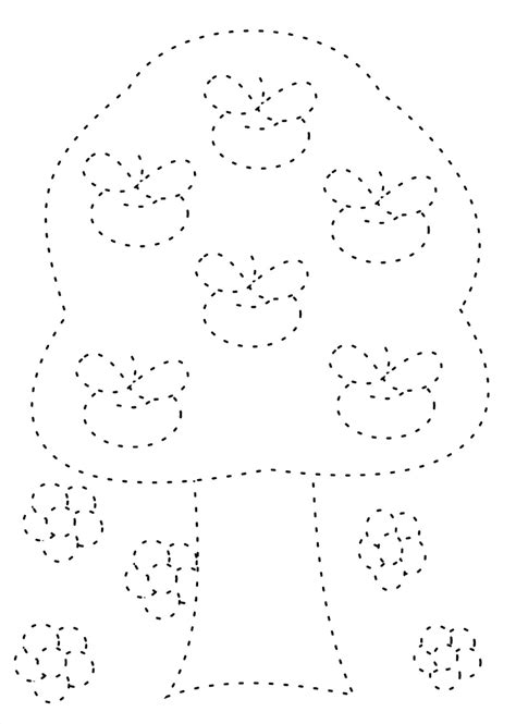2014 Apple Tree Trace And Coloring Page For Kids