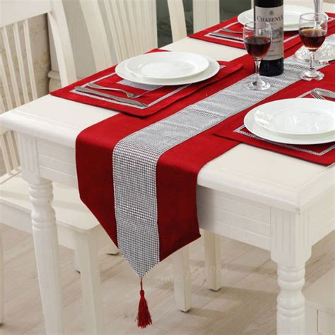 european style luxury flannel diamond red table runner