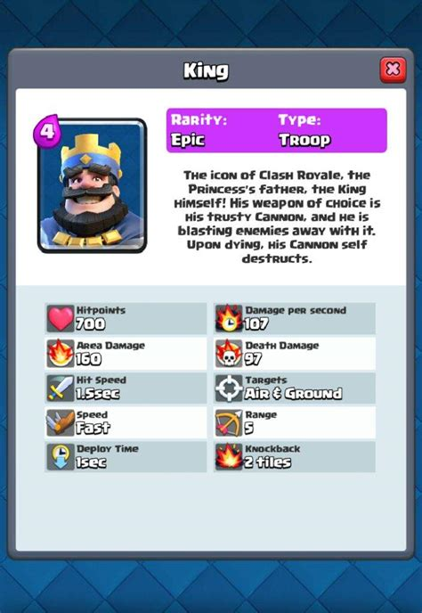 card idea king  stats clash royale amino