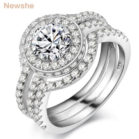 newshe solid 925 sterling silver 3 pcs wedding ring engagement band 2 ct aaa cz classic