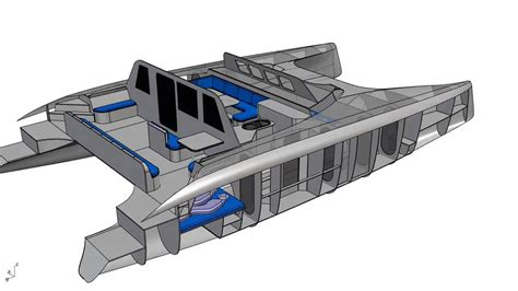Catamaran Cad Design by G Force 1500 Interior Cad Rendering Schionning Designs