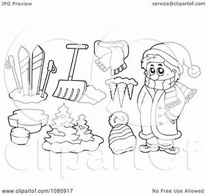 Clipart Outlined Winter Man With Skis Shovel Icicles And A ...