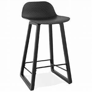 Mini Tabouret Bois : tabouret de bar chaise de bar mi hauteur design obeline mini noir ~ Teatrodelosmanantiales.com Idées de Décoration