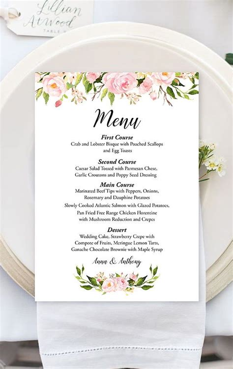 peony floral wedding menu template watercolor floral