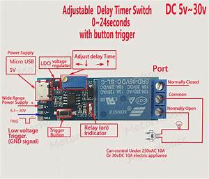 Dc 5v 12v 24v Signal Trigger Delay Time Turn On Switch
