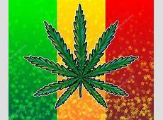 Ganja leaf on rasta colored flag — Stock Vector