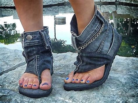 #danikfashion Hand-made Jeans Sandal Boots. Click Here For