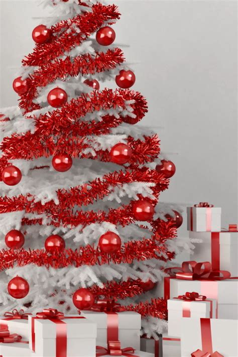 White Christmas Tree With Red Ornaments Pictures, Photos