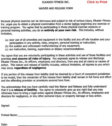 printable liability waiver forms form generic