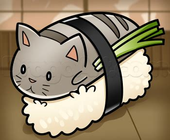 draw sushi cat step  step characters pop