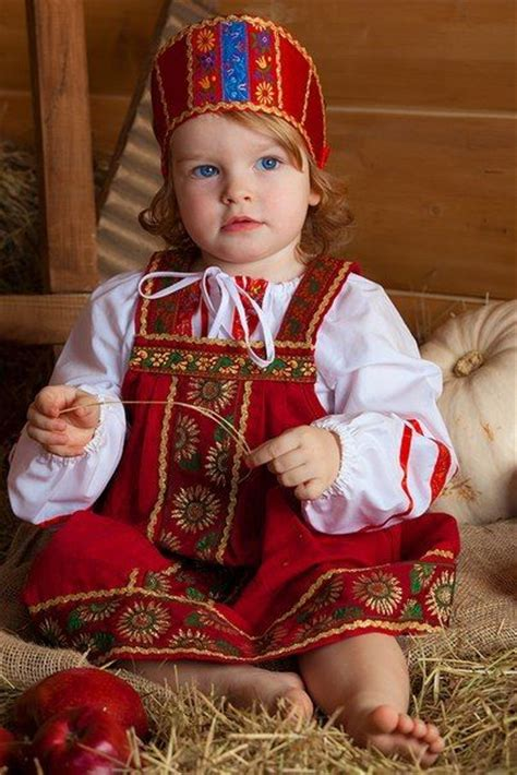 A cute blue-eyed girl is wearing Russian traditional costume. #cute #kids #Russian #folk ...