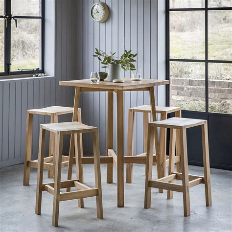 Solid Oak High Table & Bar Stools Set ? Primrose & Plum