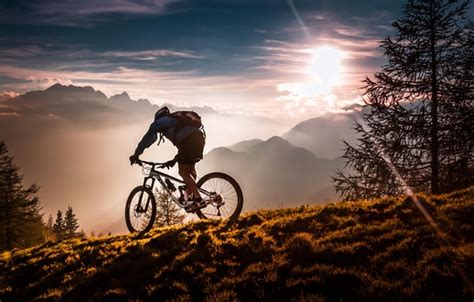 Wallpaper Sport, Forest, Bicycle, Twilight, Sky, Bike