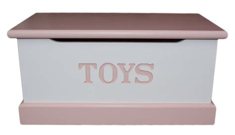 solid wood interiors painted pink  white pine toy box