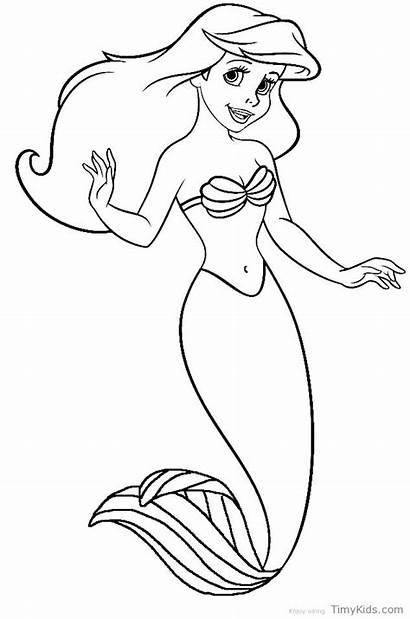Mermaid Ariel Coloring Pages Disney Princess Printable