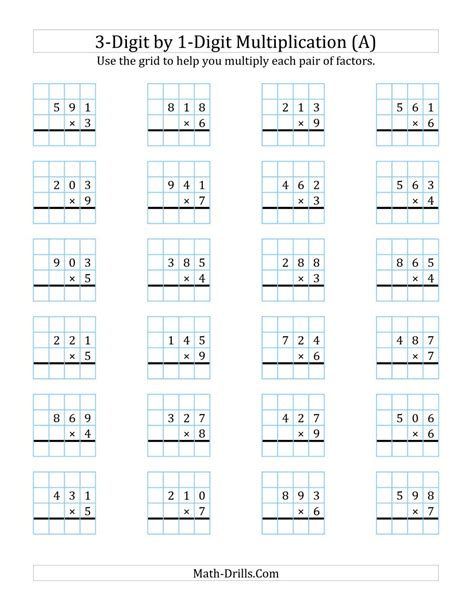 3digit By 1digit Multiplication With Grid Support (a