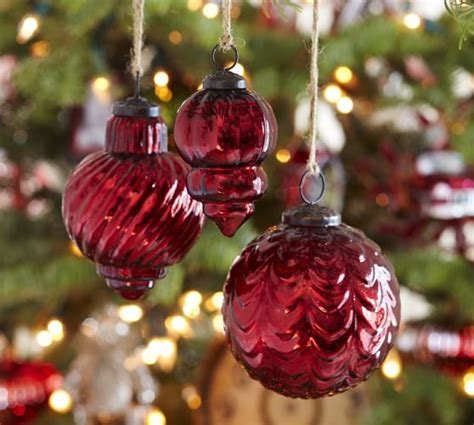 eclectic mercury glass ornaments red set of 3 pottery