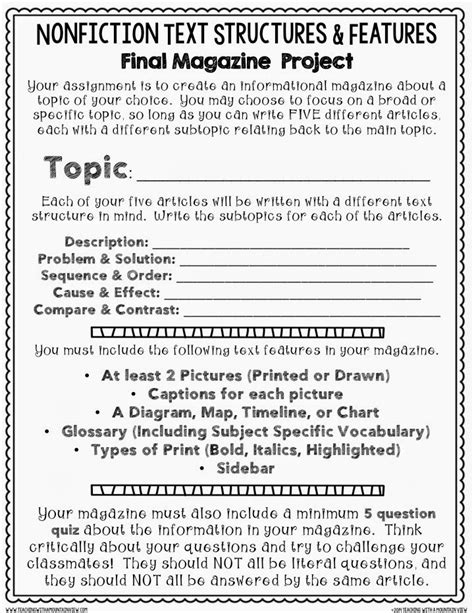 Teaching With A Mountain View Nonfiction Text Structures & Features Cumulative Assignment