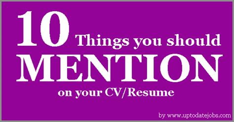 10 things you should mention on your cv