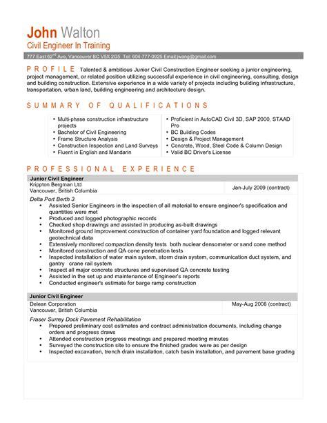 great junior civil engineer resume sle exles expozzer