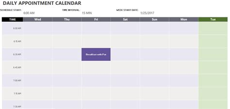 daily appointment calendar template exceltemplate