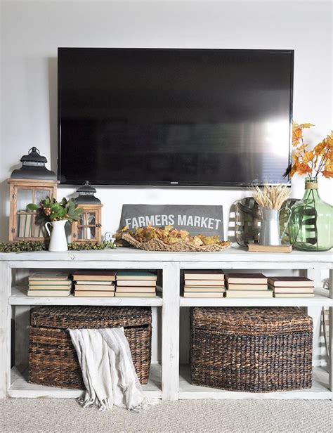 Decorating Ideas Tv Consoles image result for tv console fall decor home tv stand