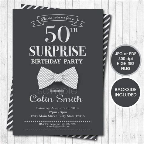 Surprise Birthday Invitation for Men Bow tie invitation