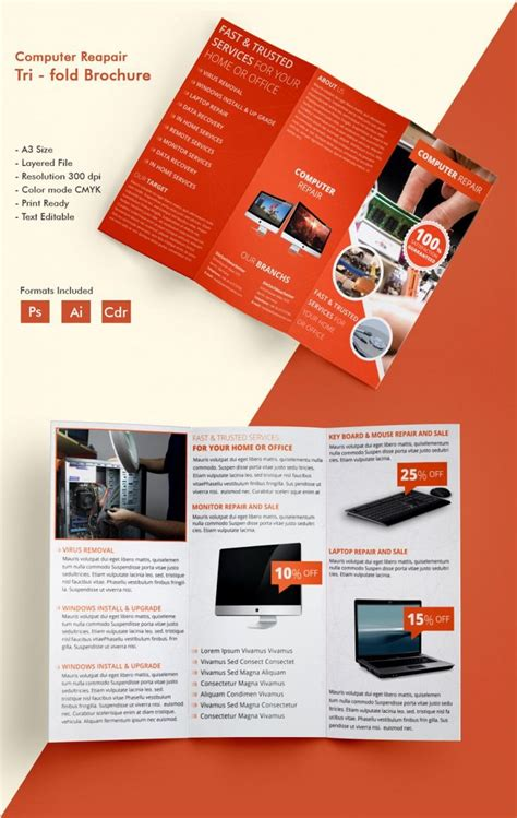 tri fold brochure templates  word  psd eps