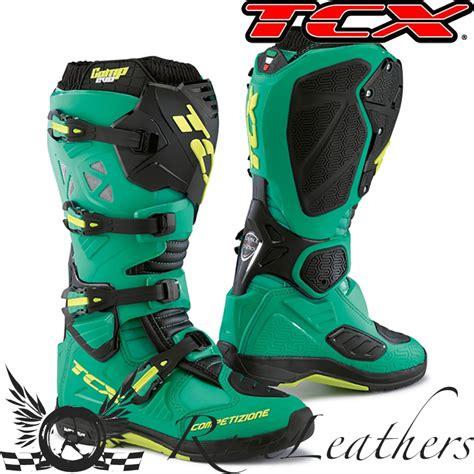 blue dirt bike boots tcx comp evo michelin sole blue lime mx motocross