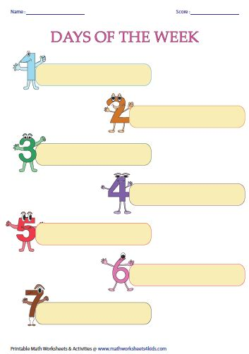 days of the week kindergarten worksheets adding to d s
